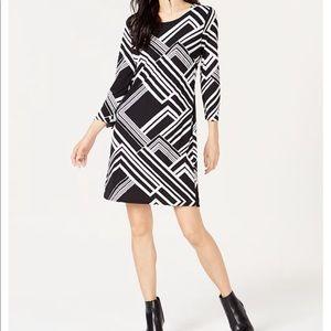 INC 3/4 Geo-Print Shift Dress NWT